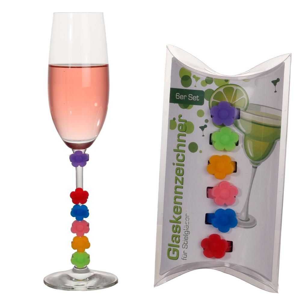 6pcs Glas-Marker 6-tlg//Set Schnecke Glasmarkierer Glasmarkierung für Party Bar