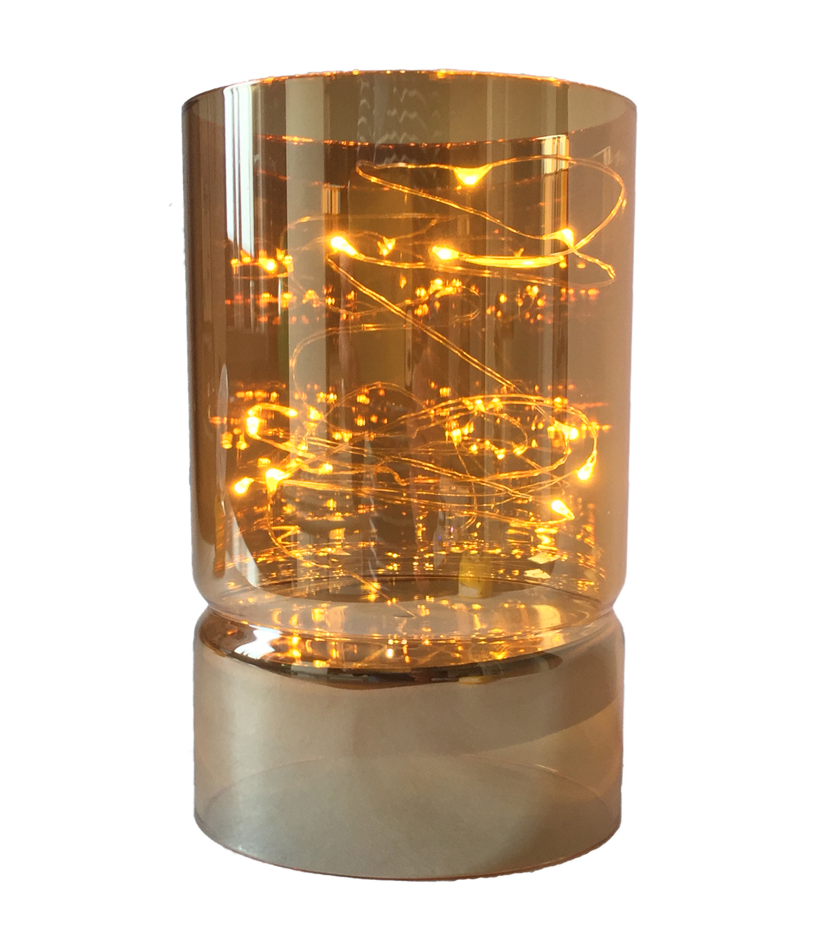 10 micro led lichterkette warmwei deko glas gold oder rauchglas windlicht batt ebay. Black Bedroom Furniture Sets. Home Design Ideas