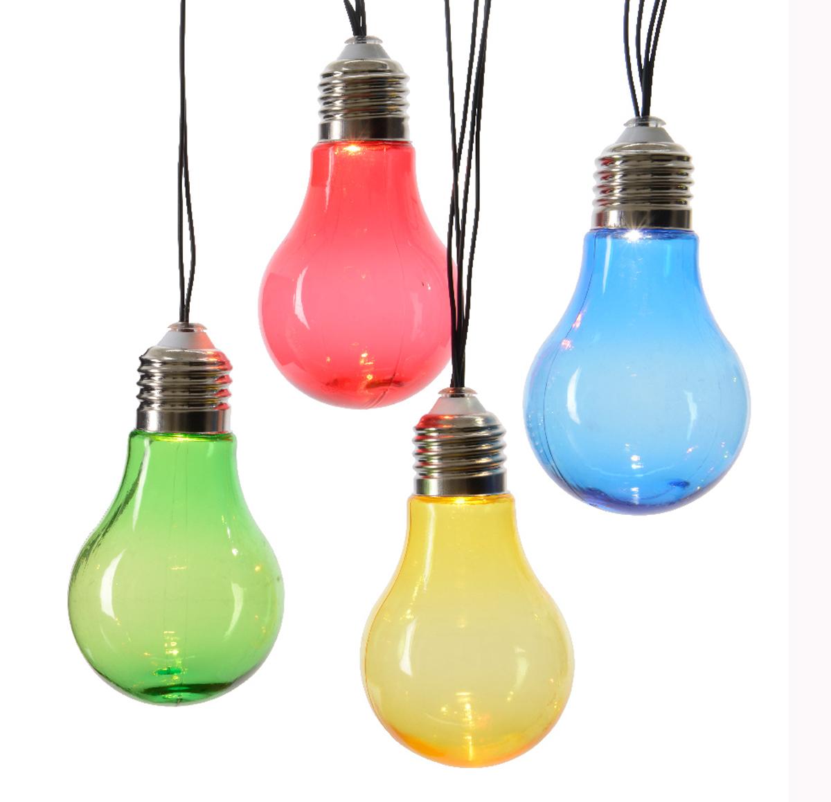 LED Deko-Lichterkette RGB SOLAR Tropfen Lampe bunt Terrassen Strahler Leuchte